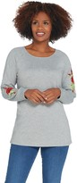 Factory Quacker Floral Embroidered Raglan Sleeve Knit Top