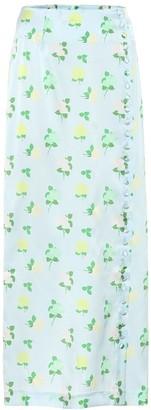 BERNADETTE Kelly floral silk-satin midi skirt