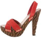 Miu Miu Suede Slingback Platform Sandals