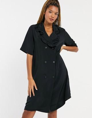 Monki Marian mini shirt dress with collar in black
