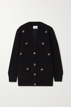 Burberry Embroidered Knitted Cardigan - Black