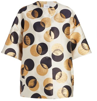 Akris Punto Gold Leaf Dot Jacquard Short-Sleeve Jacket