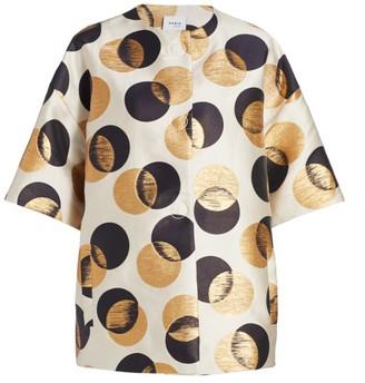 Akris Punto Gold Leaf Dot Jacquard Short-Sleeve Jacket