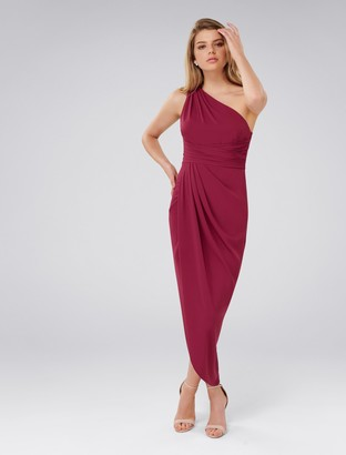Forever New Mandy One-Shoulder Drape Maxi Dress - Red Plum - 4