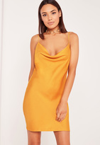 Missguided Silky Cowl Front Cami Dress Mustard