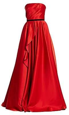 Marchesa Women's Strapless Satin Ruffle Ball Gown
