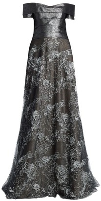 Rene Ruiz Collection Off-The-Shoulder Floor-Length Gown