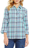 Allison Daley 3/4 Sleeve Button-Up Plaid Blouse