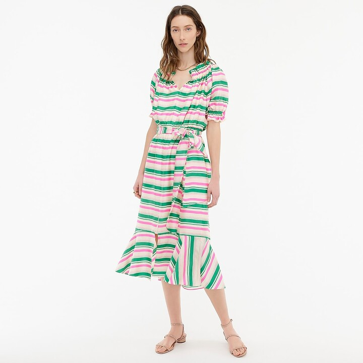 Thumbnail for your product : J.Crew Silk-twill ruffleneck dress in stripe