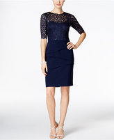 Betsy & Adam Petite Illusion Sequined Lace Sheath Dress