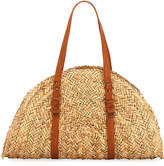 San Diego Hat Company Woven Straw Moon-Shape Bag, Neutral Pattern
