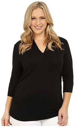 Vince Camuto Specialty Size Plus Size 3/4 Sleeve Pleat V-Neck Top