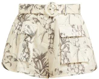 Zimmermann Wayfarer Pineapple-print Linen Shorts - Womens - White Print