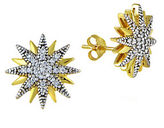 Lord & Taylor Sterling Silver and Cubic Zirconia Starburst Stud Earrings