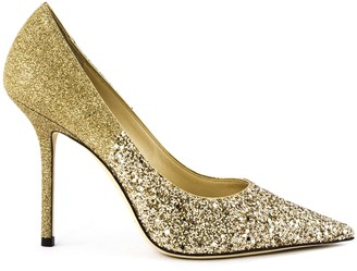 Jimmy Choo Gold Glitter Love Pump