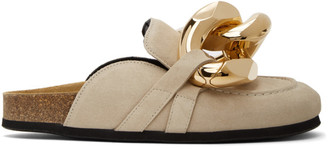J.W.Anderson Beige Suede Curb Chain Slippers