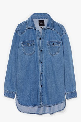 Nasty Gal Womens Hey Wash Out Oversized Denim Shirt - Mid Blue