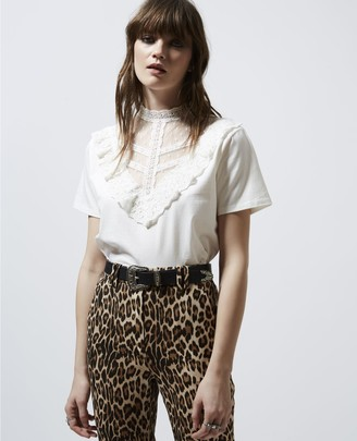 The Kooples Ecru womens T-shirt with lace panel