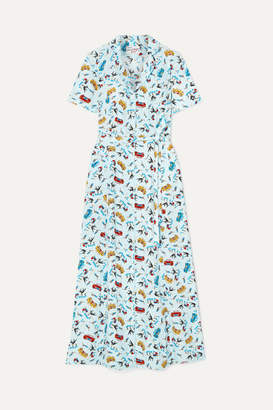 HVN Long Maria Printed Silk Crepe De Chine Dress - Sky blue