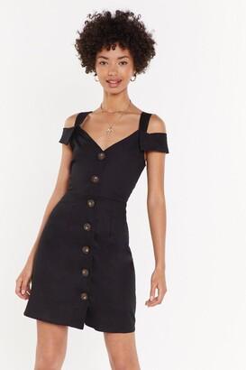Nasty Gal Womens Cold News Button-Down Mini Dress - Black - L, Black
