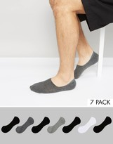 Asos Invisible Socks In Monochrome 7 Pack