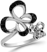 Jessica Simpson 0.26 carat total weight Black and White Diamond Butterfly Ring in Sterling Silver