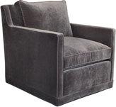 Horchow Nina St. Clair Gray Velvet Swivel Chair