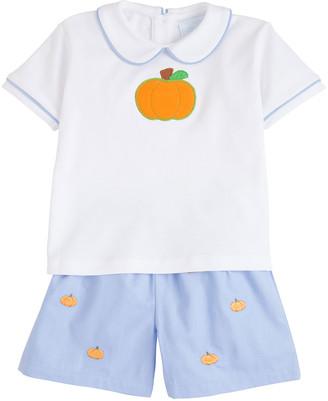 Little English Pumpkin Applique Peter Pan Collar Shirt w/ Shorts, Size 12M-3T