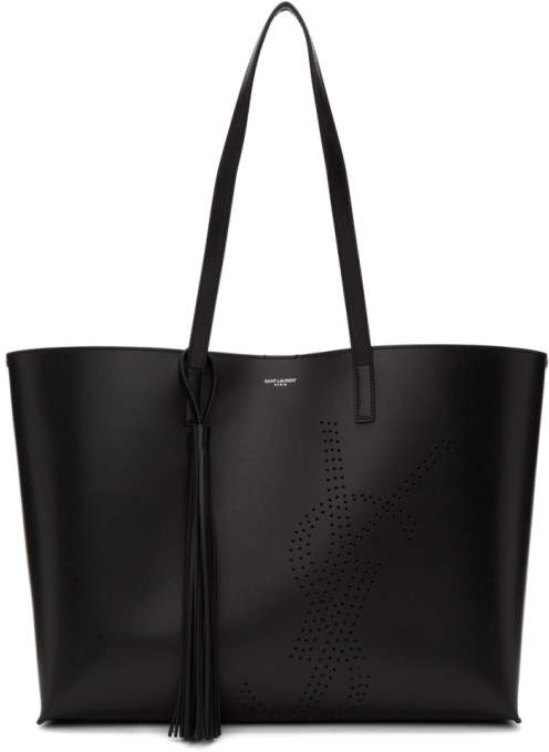 Saint Laurent Black Perforated East/West Shopping Tote