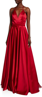 Faviana Lace-Up Satin Ball Gown