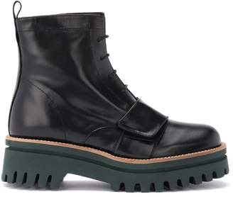 Paloma Barceló Anfibio Boot In Black Leather With Green Sole