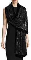Harrison Morgan Web Lace Sequin Stole w/ Velvet Border