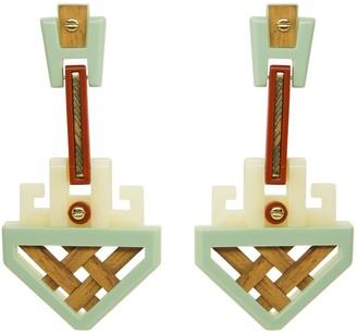 Gissa Bicalho Handmade Acrylic Earrings Marajo Cream