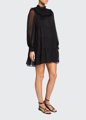 Alice + Olivia Kellyann Lace Mock-Neck Tiered Babydoll Dress