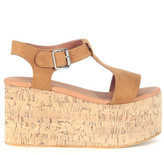 Jeffrey Campbell Weekend Wedged Sandal In Beige Leather And Cork