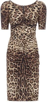 Dolce & Gabbana Leopard Print Silk Stretch Pencil Dress