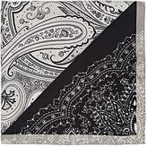 Etro Men's Paisley Silk Twill Pocket Square-BLACK