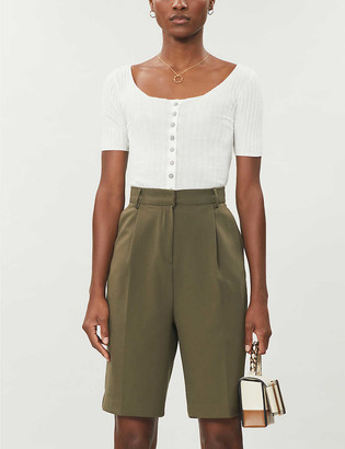 Free People Little Cutie cropped cotton-blend knitted top
