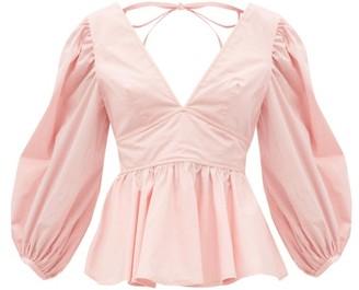 STAUD Luna Flared-hem Cotton-blend Top - Light Pink
