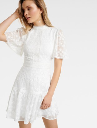 Forever New Crystal Embroidered Dress - Porcelain - 8
