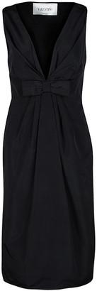 Valentino Black Plunged Neck Bow Detail Sleeveless Dress M