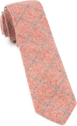 Tie Bar Printed Flannel Pane Orange Tie