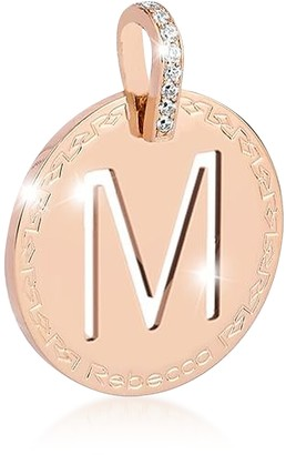 Rebecca Rose Gold-plated Bronze & Zirconia M Charm W/Rhodium-plated Necklace