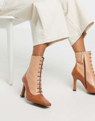 ASOS DESIGN Emily premium leather heeled lace up boots in tan