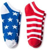 Bioworld Women's 2-Pair pk Ankle Socks - Stars & Stripes One Size