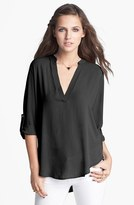 Lush Women's Roll Tab Sleeve Woven Shirt