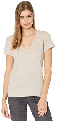 Madewell Whisper Cotton V-Neck Pocket Tee (Ashen Silver) Women's Clothing