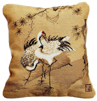 Petit Point Hkh International Cranes and Palm Trees Pillow