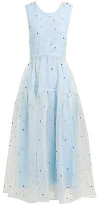 Cecilie Bahnsen Ruth Floral-beaded Silk-organza Midi Dress - Womens - Blue Multi