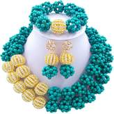 laanc 2 Layer Turquoise Ball and Rhinestones Beads African Necklace Bracelet Nigeria Wedding Jewelry Set